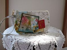 Wristlet Zipper Clutch  Gadget Pouch Purse by Antiquebasketlady, $11.99