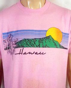 vtg 80s soft thin Retro Hawaii T-Shirt Sunset palm trees pink indie SZ L/XL