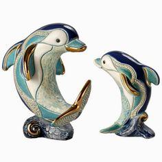 Dolphin on Wave Family Ceramic Figurine Set | F159/F359 | De Rosa Collection