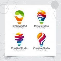 Set collection bulb logo template idea d. Flat Design Icons, Logo Design, Icon Design, Branding Design, Graphic Design, Portfolio Web Design, Technology Background, Design Thinking, Business Logo
