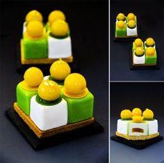 "Individual cake ""April"": sable breton, soft mango-citrus caramel; light coconut mousse; orange jelly for decoration."