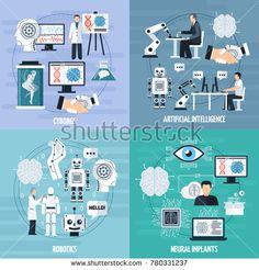 Stock Photo: Artificial intelligence concept icons set with cyborg symbols flat isolated illustration