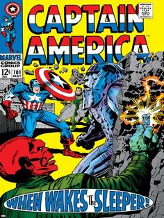 (12x16) Marvel Comics Retro: Captain America Comic Book Cover No.101 Red Skull When Wakes the Slee @ niftywarehouse.com #NiftyWarehouse #Geek #Gifts #Collectibles #Entertainment #Merch