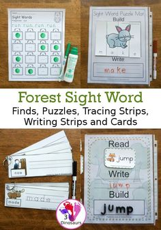 Forest Themed Sight Word Activities - Puzzles, cards, tracing strips, writing strips and find - using the Dolch Sight Word lists - These are a great way to work on spelling, writing, reading and more - 3Dinosaurs.com #forestactivitiesforkdis #3dionsaurs #sightwords #spelling #writing #handsonlearning #dotfind