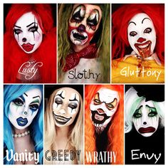 The Seven Deadly Clowns. The seven deadly sins. lust. sloth. gluttony. vanity. greed. wrath. envy. halloween makeup ideas. clown makeup.