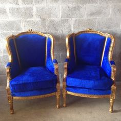 Antique French Louis XVI Chair Bergere Fauteuil Wingback Sofa Settee Couch Gold Leaf Gild ReUpholster Royal Blue Velvet Rococo Baroque by SittinPrettyByMyleen on Etsy