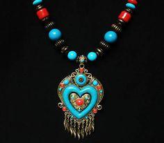 Tibet   Nepal Ethnic Folk Art Traditional Wood Resin Beads Brass Inlaid Pendant Necklace EG1076 by AnneJewelryAcc, $5.85