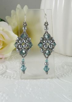 Woven Silver Grey Dangle Earrings with Swarovski by IndulgedGirl