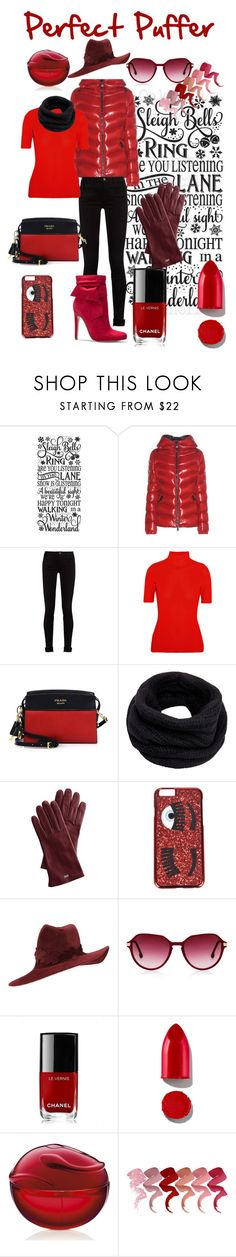 """Perfect Puffer"" by jennvsjewels ❤ liked on Polyvore featuring Moncler, Gucci, Victoria Beckham, Prada, Helmut Lang, Mark & Graham, Chiara Ferragni, Philip Treacy, Chanel and Rodin"