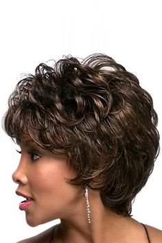 Brown European Full Bang Synthetic Short Wavy Fluffy Wig #029053 @ Synthetic Wigs For Women-Synthetic Hair,Synthetic Lace Front Wigs,Natural Hair Wigs,Short Wigs,Blonde Wig,Black Wig,Synthetic Full Lace Wigs,Curly Synthetic Wigs,Long Synthetic Wigs Synthetic Lace Front Wigs, Synthetic Wigs, Natural Hair Wigs, Natural Hair Styles, Full Bangs, Black Wig, Short Wavy, Blonde Wig, Dali