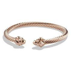 Women's David Yurman 'Renaissance' Bracelet In Rose Gold ($3,500) ❤ liked on Polyvore featuring jewelry, bracelets, rose gold, rose gold jewellery, renaissance jewelry, 18k jewelry, cable jewelry and david yurman bangle