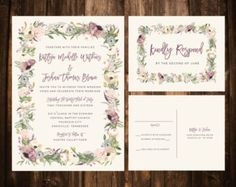 Bold Bohemian Floral Wedding Invitations by papernpeonies on Etsy