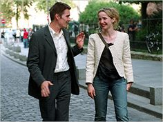 Ethan Hawke + Julie Delpy in Before Sunset. Seemingly effortless and still impeccably pulled together. Julie Delpy, French Girl Style, My Style, Before Trilogy, Ethan Hawke, Tousled Hair, Before Sunset, Julia, Quilted Jacket