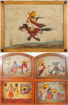 Very fun Tinoco pieces, beautifully framed.  Found @ askart.com