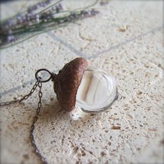 Glass Acorn Necklace by Bullseyebeads - Transparent Crystal Clear - April Birthstone