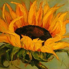 Pinned as Georgia O'Keeffe....This was painted by Kim Blair, links directly to her blog site...  http://kimblairartist.blogspot.com/2010/11/sunflower-paintingyellow-light-by.html