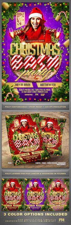 Christmas Bash Party Flyer Template — Photoshop PSD #christmas card #party • Download ➝ https://graphicriver.net/item/christmas-bash-party-flyer-template/18822914?ref=pxcr