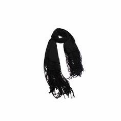 Echarpe Preta com Renda de Viscose #echarpes #lenços #lenço #scarf #scarfs