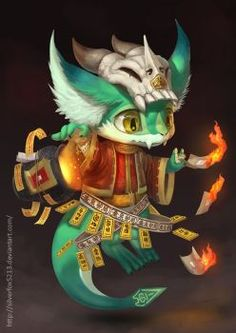 A character I created last year for the Qingming Festival (Tomb Sweeping Day) He gathers burnt offerings, tag it and delivers them to the ancestors. Cute Creatures, Fantasy Creatures, Mythical Creatures, Creature Concept Art, Creature Design, Cute Characters, Fantasy Characters, Animal Drawings, Cute Drawings