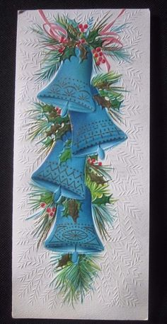 Vintage Christmas Greeting Card Hanging Blue Bell Ornaments Mid Century Embossed