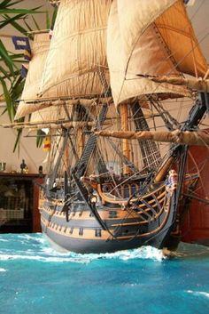 sailboat models decor, Miniature Tall Ship Replica, model ships,