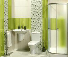 Bathroom with green colour theme
