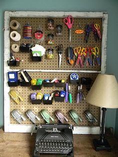 peg board craft organization- frame the peg board!