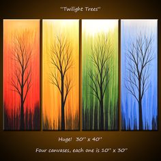 Wall Rainbow Amy Giacomelli Paintings Original Abstract Landscape Fine Art Painting, 4 gallery wrapped canvases, 30 x 40, ready to hang $467.18 AUD