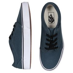 Vans 106 - Steel Blue/True White ($100) ❤ liked on Polyvore featuring shoes, sneakers, vans, sapatos, women, vans sneakers, white trainers, white shoes, vans trainers and white sneakers