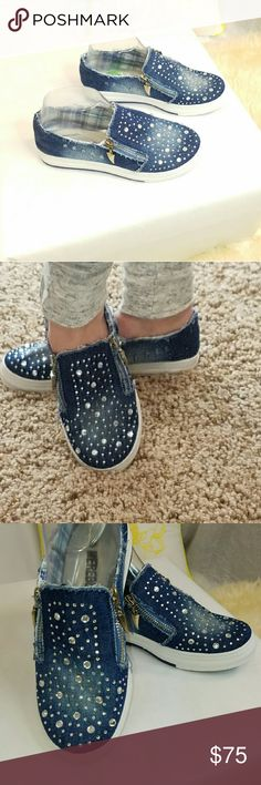 Denim shoes, double zipper on the side Front covered in crystals,  double zipper on the side. Brand new, imported from Europe Shoes Athletic Shoes