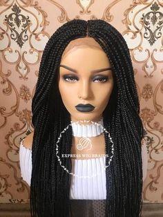 Express Wig Braids: Medium Box Braids Wig With Front Lace Cornrows With Box Braids, Red Box Braids, Braided Hairstyles For Black Women Cornrows, Medium Hair Braids, Box Braid Wig, Jumbo Box Braids, Loose Braids, Micro Braids, Box Braids Styling