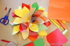 Origami handmade -  flower of paper cones colorful.