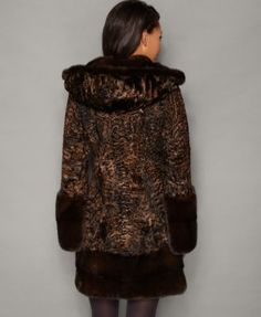 e554a49ba64 The Fur Vault Mink-Fur-Trim Hooded Persian Lamb Coat - Orange S Mink