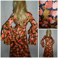 Vintage 70s Vera Mont Bold TULIP Print WATERFALL Sleeved BOHEMIAN Maxi dress 10 1970s Orange/brown Hippy Hippie by HoneychildLoves on Etsy