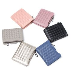 Sale 22% (13.99$) - Women PU Leather Woven Pattern Short Wallet Credit Card Holder Coins Bag