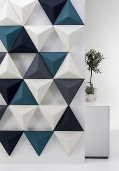 Textured Triangle Wall Panels, idea for acoustic panels Interior Walls, Interior Design, Interior Architecture, Triangle Wall, Triangle Pattern, 3d Wall Panels, Plastic Wall Panels, Wall Panel Design, Decorative Wall Panels