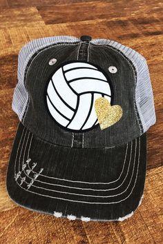 Volleyball Trucker Hats with Glitter Heart