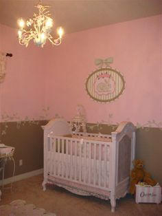 Shabby Chic Pink Brown And Green Baby S Room With Flair A Touch Of Victorian