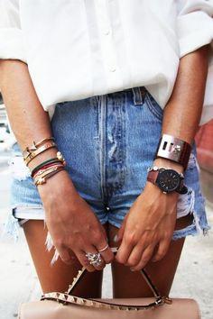 The never-fail denim cut-offs,white shirt and glowing tan combo #tan #denimshorts #whiteshirt #style