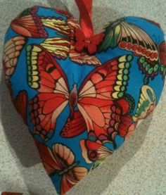 Valentine Butterfly Fabric Heart Shaped Lavender Bag - Handmade