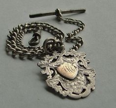 Antique English Sterling Watch Chain & Fob by AnotherTimeAntiques, $350.00