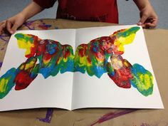 Color Mixing, Symmetry. Butterfly wings are made by squirting paint in a V shape, folding paper and rubbing. A body is added by coloring on construction paper.