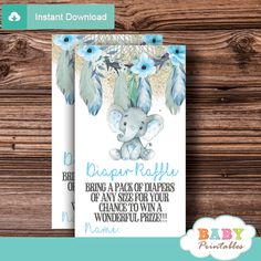 Printable boho chic aqua blue Elephant Diaper Raffle Tickets for a boy baby shower.  #babyshowergames #babyshower #babyshowerparty #dreamcatcher
