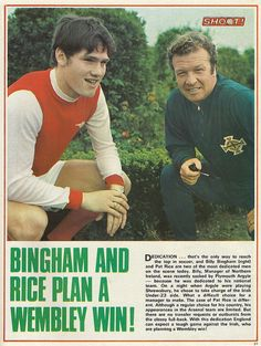 """Pat Rice (Arsenal FC, 397 apps, 12 goals) and William """"Billy"""" Bingham (Linfield, in Arsenal Football, Arsenal Fc, Football Team, Cricket Equipment, Football Memorabilia, North London, Old Boys, Soccer Players, Northern Ireland"""