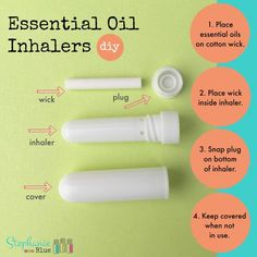 How to make essential oil inhalers- includes blend recipes for tension, energy, focus, calming, cravings, and more