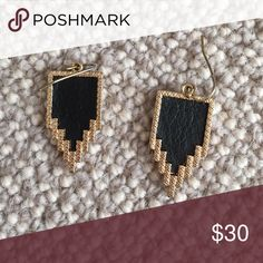 Edgy Black Earrings Never worn; from Hemline boutique in Dallas Jewelry Earrings