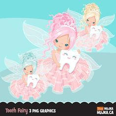 Tooth Fairy clipart. Cute fairy character graphics, angel wings, party printables, digitized embroidery, planner stickers, chore charts, art