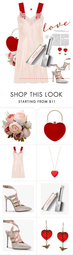 """""""Blush / Red."""" by s-elle ❤ liked on Polyvore featuring beauty, Givenchy, Kate Spade, Burberry, Charming Life and glossylips"""