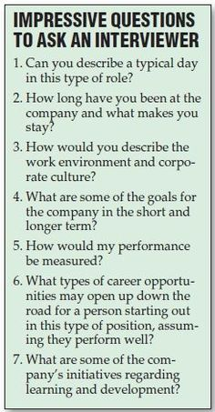 Questions to ask at an interview