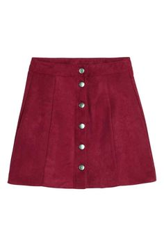 A-line skirt: Short, A-line skirt with a front fastening.